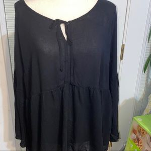 Torrid Brand Black blouse with bell sleeves